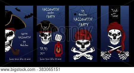 Set Of Vector Cards For Halloween. Pirate Skulls, Pirate Captain, Motros. A Set Of Elements For Card
