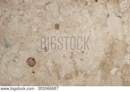 Aged Rough Weathered Paper Sheet, Dirt Stains, Spots, Inclusions Cellulose, Brown Cardboard Texture,