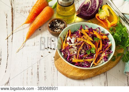 Cole Slaw. Cabbage Salad In A Bowl On A Wooden Table. Copy Space.