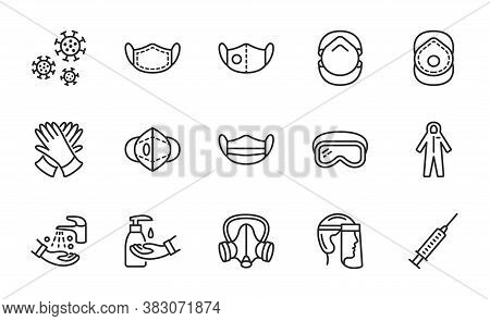 Covid-19 Protection Equipments And Clothing. Various Types Of Protective Masks And Respirators And G