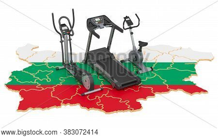 Sport Clubs In Bulgaria. Fitness, Exercise Equipments On Bulgarian Map. 3d Rendering Isolated On Whi
