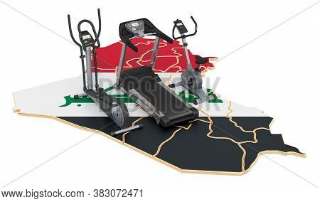 Sport Clubs In Iraq. Fitness, Exercise Equipments On Iraqi Map. 3d Rendering Isolated On White Backg