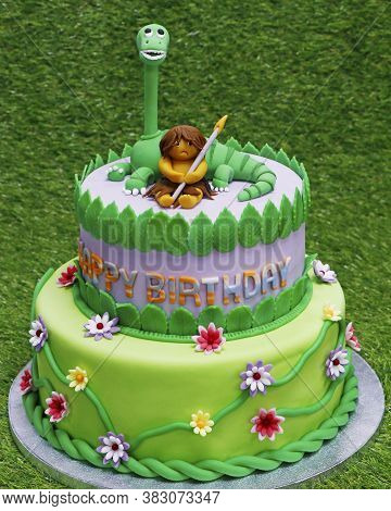 Birthday Cake Mastic For A Child . Bright And Colorful With A Fantastic Character .marzipan Art