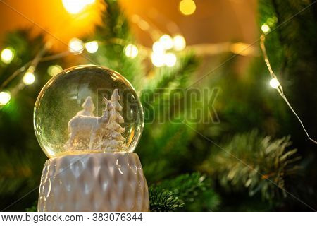 Merry Christmas Balls With Fir Branches, Snowflakes, Greeting Cards Background Decoration. Clear Cry
