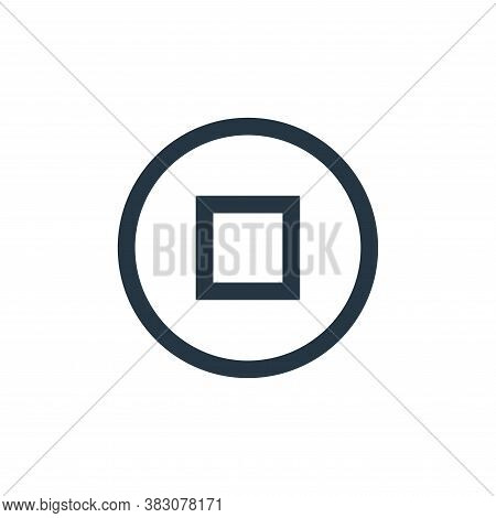 stop button icon isolated on white background from music collection. stop button icon trendy and mod