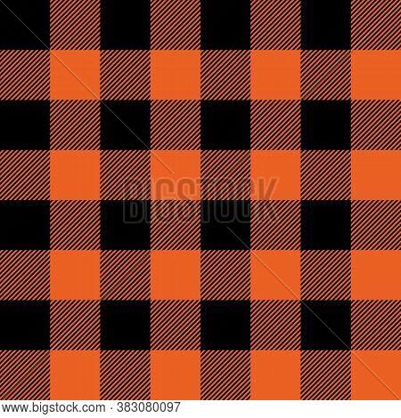 Tartan Halloween Orange Plaid. Scottish Pattern In Black And Orange Cage. Scottish Cage. Traditional
