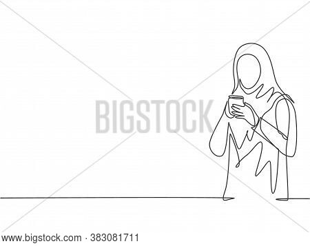 Single Continuous Line Drawing Of Young Muslimah Marketing Manager Holding A Cup Of Coffee While Off