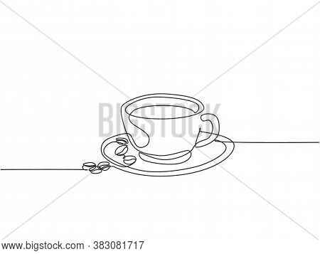 Single Continuous Line Drawing Of A Cup Of Coffee Drink With Coffee Beans On Ceramic Coaster And Tab