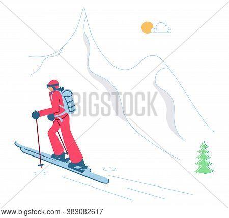 Mountain Ski Resort Concept. Woman Ski Touring On Winter Mountain Landscape Background. Flat Art Vec