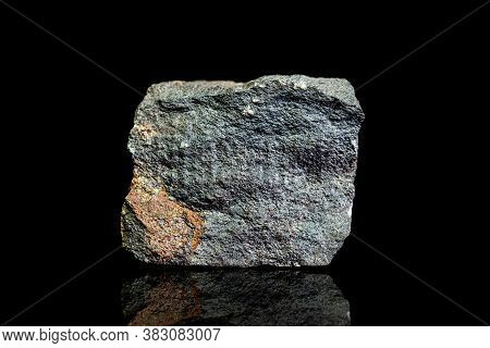 Chamosite Ore, Raw Rock On Black Background, Mining And Geology, Mineralogy