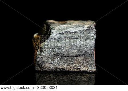 Copper Schist, Slate Or Shale Ore, Raw Rock On Black Background, Mining And Geology, Mineralogy