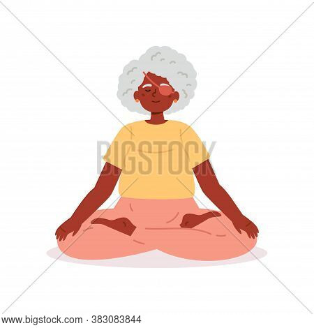 Disabled Blind Old Woman With Bandage Practices Yoga.daily Activities And Fun.mindfulness Practices.