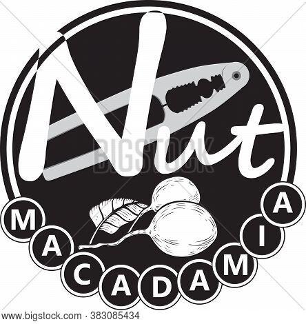 Macadamia Nut Label With Plant And Standard Nutcracker