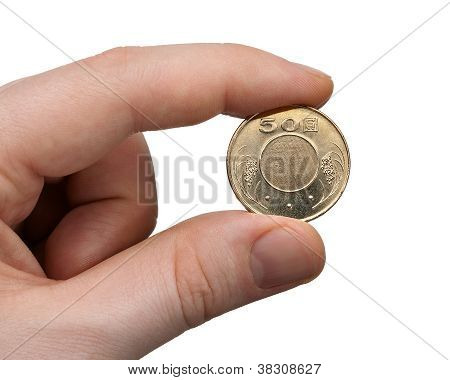 Holding A 50 Nt Dollar Coin