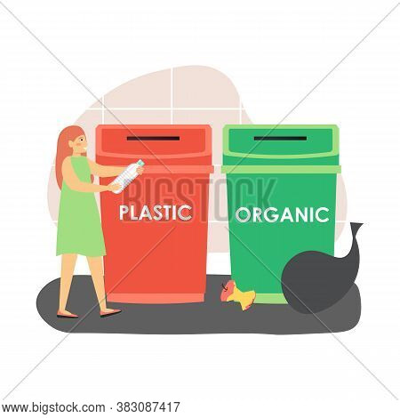 Sorting Waste For Recycling. Woman, Ecologist Throwing Plastic Bottle Into Red Trash Can, Flat Vecto