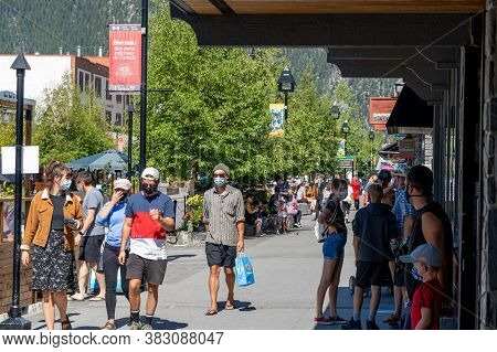 Banff, Canada - Aug 28 2020 : Street View Of Banff Avenue In Summer Time Season Sunny Day Morning Du