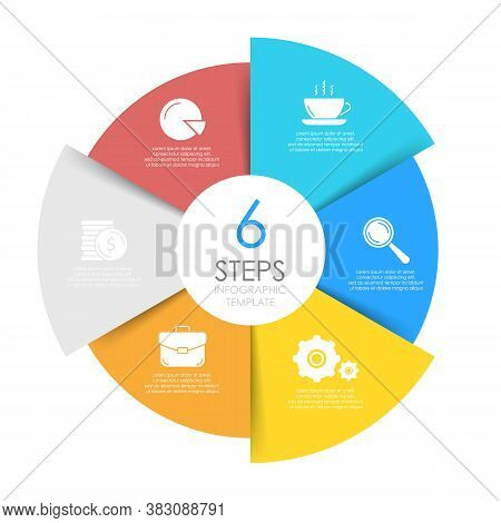 Circle Infographics Template Can Be Used Diagram, Presentation Or Web Design. Business Concept With