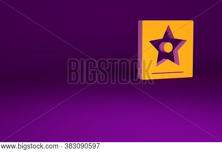 Orange Hollywood Walk Of Fame Star On Celebrity Boulevard Icon Isolated On Purple Background. Famous
