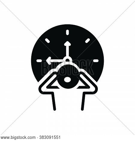 Black Solid Icon For Late Tardily Slow Backward Behind-time  Overdue Out-of-luck Dilatory