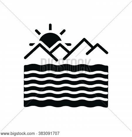 Black Solid Icon For Ocean Briny Sea Deep Mare Saline Sand River Mountain Alkalescent Ocean-wave Mou
