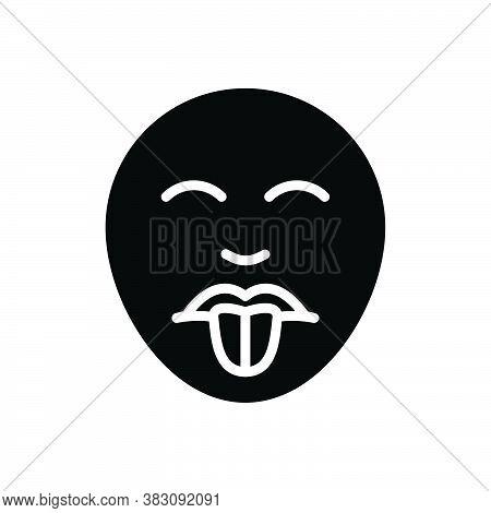 Black Solid Icon For Taste Relish Savor Fruition Gustation Delicious Mood Mouth Emoj