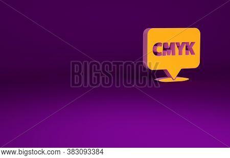 Orange Speech Bubble With Text Cmyk Icon Isolated On Purple Background. Minimalism Concept. 3d Illus