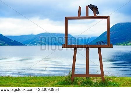 Jolster, Norway - July 5, 2018: Jolster Municipality With Frame Of The Known Painter Nikolai Astrup