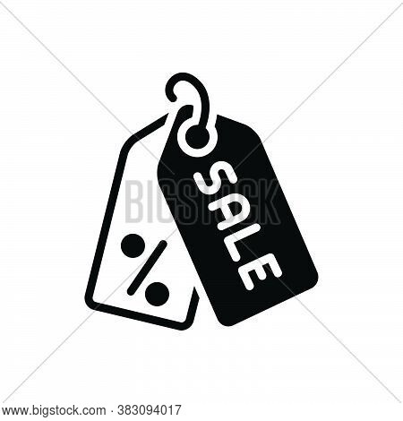 Black Solid Icon For Sales Business Purchase Trade Purchasing Deal Reduction Label Tag  Sticker Card