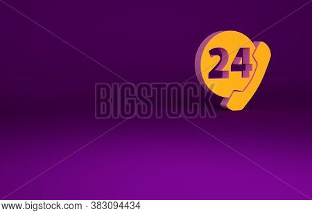 Orange Telephone 24 Hours Support Icon Isolated On Purple Background. All-day Customer Support Call-