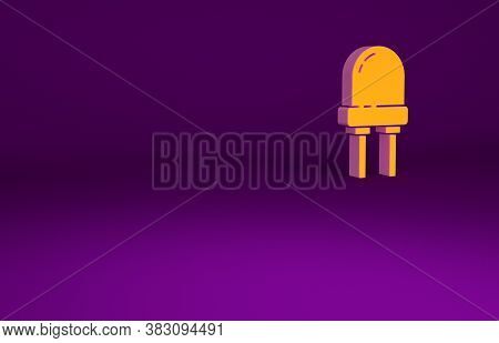 Orange Light Emitting Diode Icon Isolated On Purple Background. Semiconductor Diode Electrical Compo