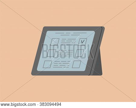 Tablet With A Ballot. Online Voting. Remote Elections. Vector Isolated Illustration.