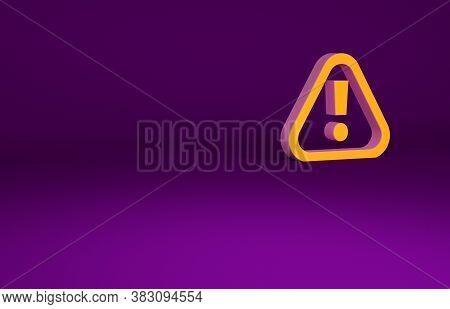Orange Exclamation Mark In Triangle Icon Isolated On Purple Background. Hazard Warning Sign, Careful