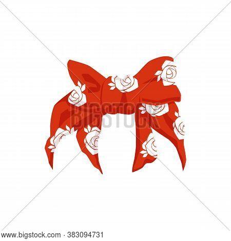 Retro Female Bandana Or Red Hair Ribbon, Realistic Vector Illustration Isolated.