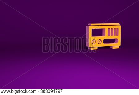 Orange Electrical Measuring Instruments Icon Isolated On Purple Background. Analog Devices. Electric