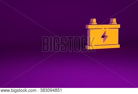 Orange Car Battery Icon Isolated On Purple Background. Accumulator Battery Energy Power And Electric