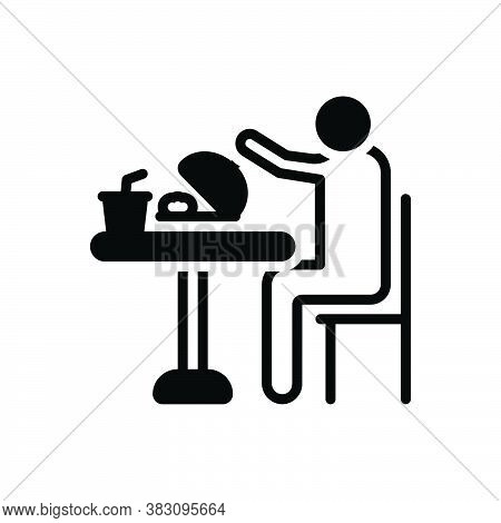 Black Solid Icon For Eat Consume Swallow Feast-on Imbibe Lunch Junket Meal Food Table Person