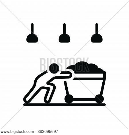 Black Solid Icon For Hardly Labour Effort Endeavour Barely Laboriously Push Cart
