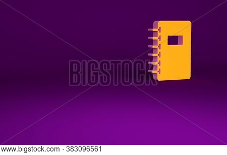 Orange Notebook Icon Isolated On Purple Background. Spiral Notepad Icon. School Notebook. Writing Pa