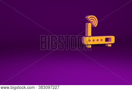 Orange Router And Wi-fi Signal Icon Isolated On Purple Background. Wireless Ethernet Modem Router. C