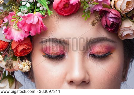 Close Up Perfect Skin Face And Beautiful Eyeshadow, Brunette Woman With Luxury Makeup, Eyelashes. Co