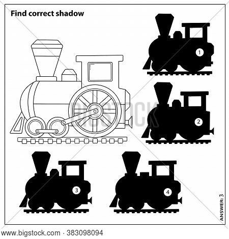 Puzzle Game For Kids. Find Correct Shadow. Coloring Page Outline Of Cartoon Train. Coloring Book For