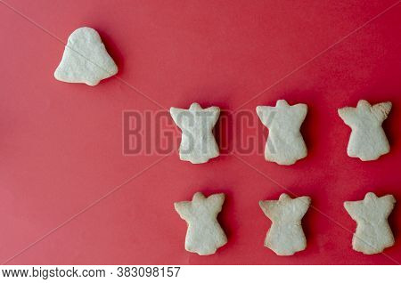 Homemade Holiday Cookies On A Red Background. Homemade Baking. Copy Space