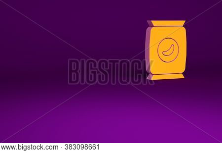 Orange Bag Or Packet Potato Chips Icon Isolated On Purple Background. Minimalism Concept. 3d Illustr