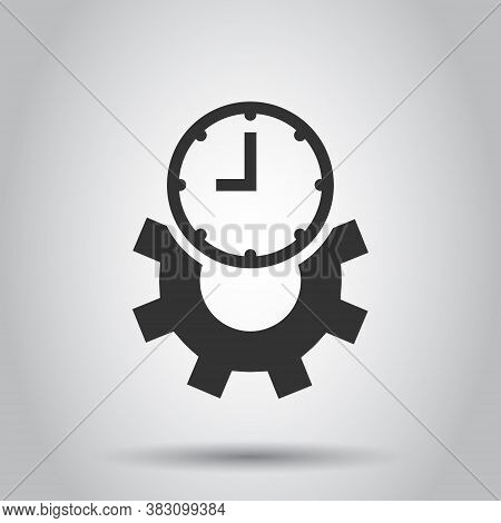 Improvement Icon In Flat Style. Gear Project Vector Illustration On White Isolated Background. Produ