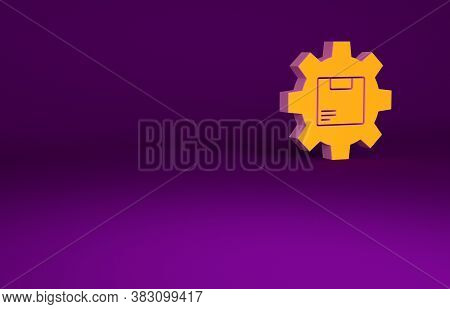 Orange Gear Wheel With Package Box Icon Isolated On Purple Background. Box, Package, Parcel Sign. De