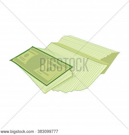 Green Cash Stack And Fan, Bundle Paper Dollar, Investment And Prosperity Vector Illustration. Salary