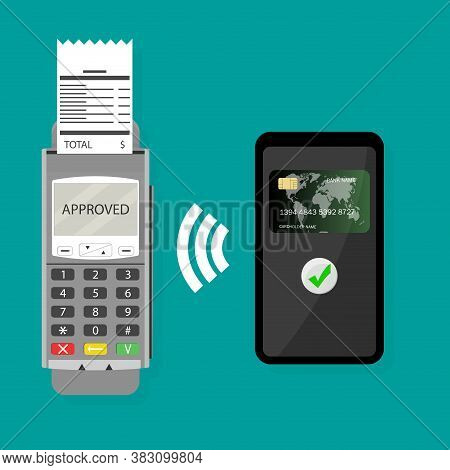 Wireless Pay Pass With Smartphone. Vector Transaction Wireless Purchase, Nfc Transaction Paying Onli