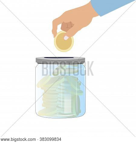 Collect Money In Glass Jar. Banking Cash Deposit, Cartoon Jar For Donation, Vector Collecting Income