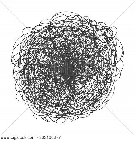Tangled Chaos Abstract Hand Drawn Messy Scribble Ball Vector Illustration. Random Chaotic Dynamic Sc