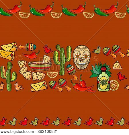 Mexican Festive Seamless Striped Pattern. Ethnic And Tribal Motifs. Vector.